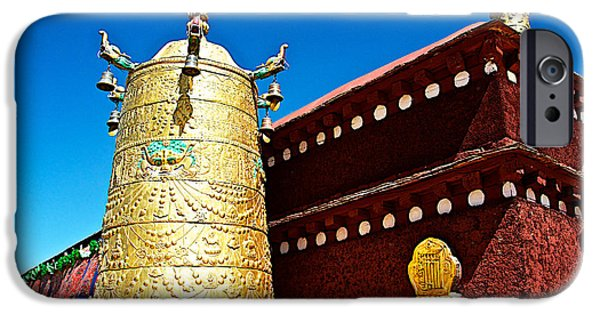 Tibetan Buddhism iPhone Cases - Gold Pot and Red Wall  from Roof of Jhokhang Temple in Lhasa-Tibe iPhone Case by Ruth Hager
