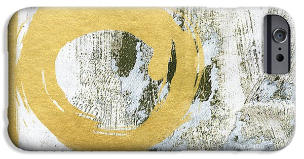 Pillow iPhone Cases - Gold Rush - Abstract Art iPhone Case by Linda Woods