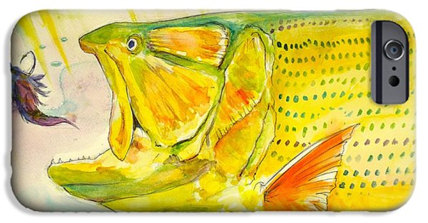 Golden Trout iPhone Cases - Feathers To Get Gold  iPhone Case by Yusniel Santos