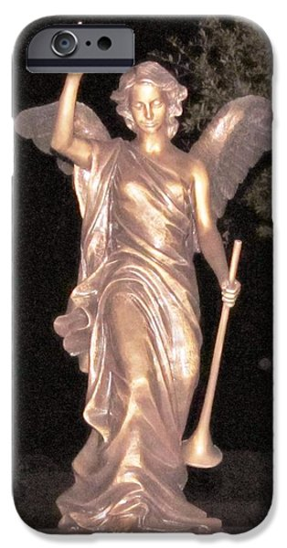 Night Angel iPhone Cases - Golden Angel In The Night iPhone Case by Donna Wilson