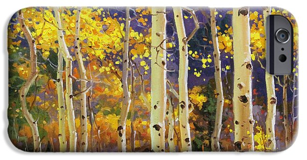 Mist Paintings iPhone Cases - Golden Aspen w. Mystical Purple iPhone Case by Gary Kim