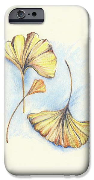 Botanical Pastels iPhone Cases - Golden Autumn Ginkgo Leaves iPhone Case by MM Anderson