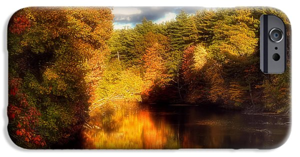 New Hampshire Fall Scenes iPhone Cases - Golden Autumn iPhone Case by Joann Vitali