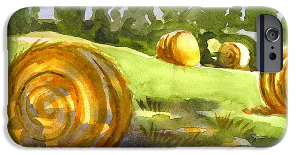 Bales Paintings iPhone Cases - Golden Bales in the Morning iPhone Case by Kip DeVore