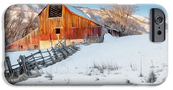 Wintertime iPhone Cases - Golden Barn at Sunrise Oil Paint iPhone Case by Nicholas  Pappagallo Jr