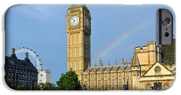 Westminster Palace iPhone Cases - Golden Big Ben clock tower under the rainbow iPhone Case by RicardMN Photography