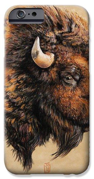 American Pastels iPhone Cases - Golden Bison iPhone Case by Debra Jones