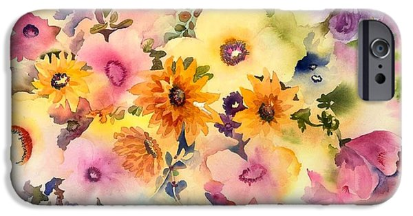 Tasteful Art iPhone Cases - Golden Blossoms iPhone Case by Neela Pushparaj