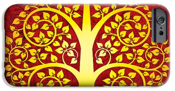 Thai iPhone Cases - Golden bodhi tree No.1 iPhone Case by Bobbi Freelance