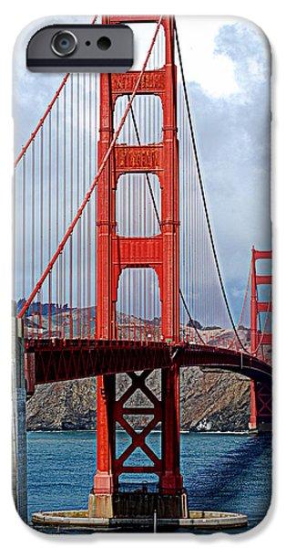 Bay Bridge iPhone Cases - Golden Bridge iPhone Case by HQ Photo