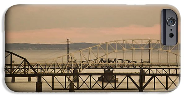 Seagull Mixed Media iPhone Cases - Golden Bridge iPhone Case by Trish Tritz