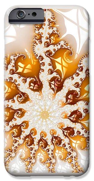 Abstract Digital Digital Art iPhone Cases - Golden brown and white luxe abstract art iPhone Case by Matthias Hauser