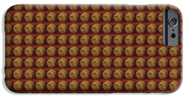 Diy iPhone Cases - Golden Brown Vintage Knob Pattern iPhone Case by Navin Joshi