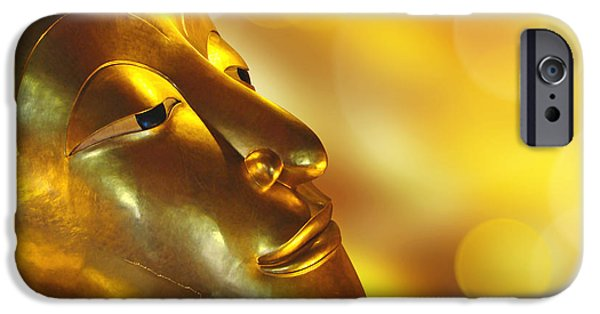 Buddhist iPhone Cases - Golden Buddha iPhone Case by Delphimages Photo Creations