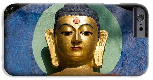 Siddharta Photographs iPhone Cases - Golden Buddha iPhone Case by Nila Newsom