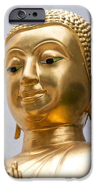 Statue Portrait iPhone Cases - Golden Buddha Statue iPhone Case by Antony McAulay