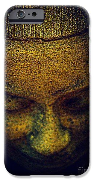Statue Portrait iPhone Cases - Golden Buddha iPhone Case by Susanne Van Hulst