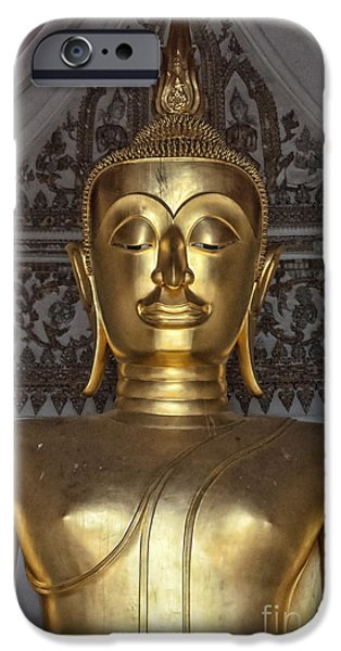 Statue Portrait iPhone Cases - Golden Buddha Temple Statue iPhone Case by Antony McAulay