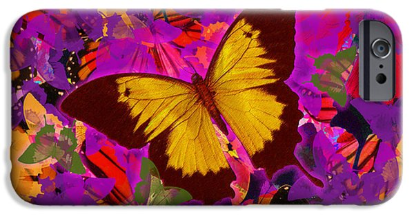 Abstract Digital iPhone Cases - Golden Butterfly Painting iPhone Case by Alixandra Mullins
