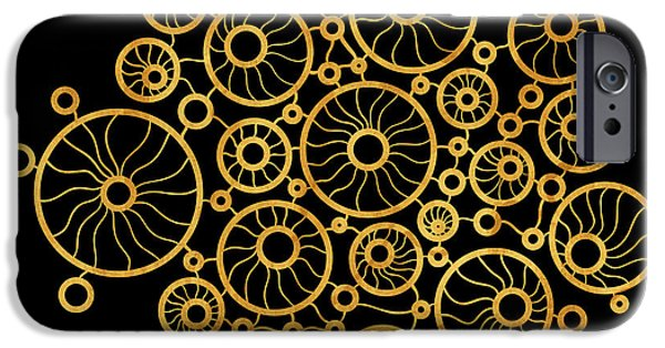 Creative Drawings iPhone Cases - Golden Circles Black iPhone Case by Frank Tschakert