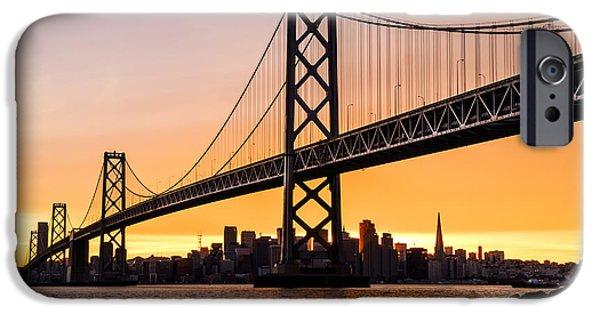Bay Bridge iPhone Cases - Golden City iPhone Case by Radek Hofman