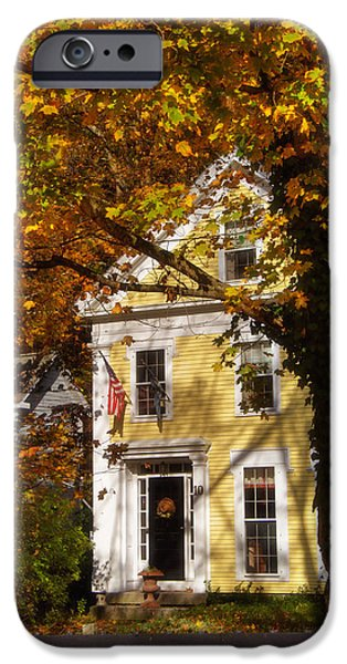 New Hampshire Fall Scenes iPhone Cases - Golden Colonial iPhone Case by Joann Vitali
