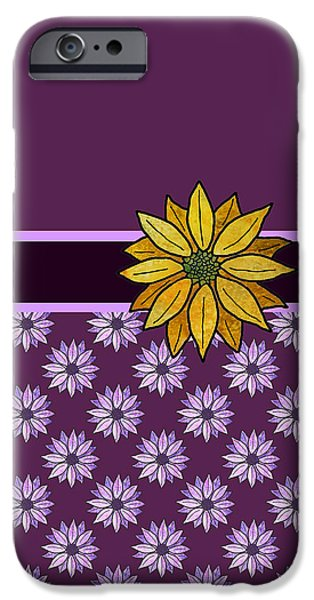 Fabric Mixed Media iPhone Cases - Golden Daisy on Plum iPhone Case by Jenny Armitage