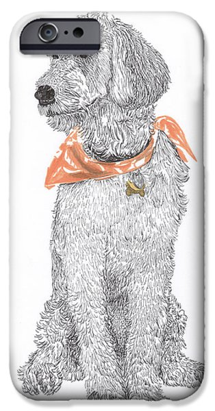 Pen And Ink Framed Prints iPhone Cases - Trash Talking Golden Doodle iPhone Case by Jack Pumphrey