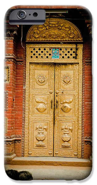 Tibetan Buddhism iPhone Cases - Golden Door in Kathamndu iPhone Case by Raimond Klavins