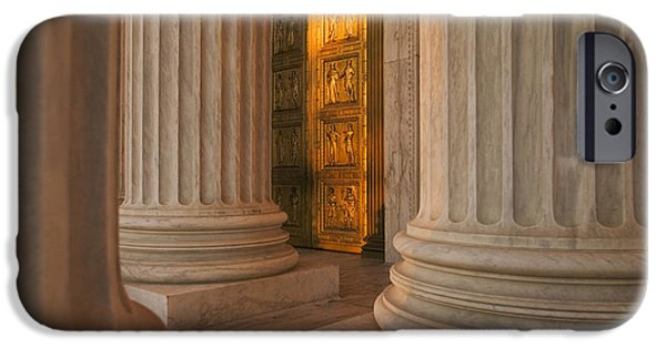 D.c. iPhone Cases - Golden Doors And Columns Of The United iPhone Case by Tips Images