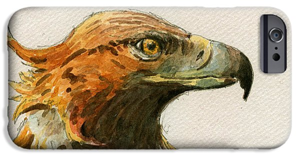 Nature Study Paintings iPhone Cases - Golden eagle iPhone Case by Juan  Bosco