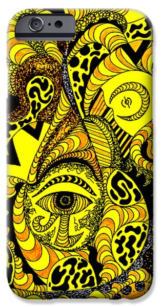 Kenal Louis iPhone Cases - Golden Eye In Wave Of Thoughts iPhone Case by Kenal Louis