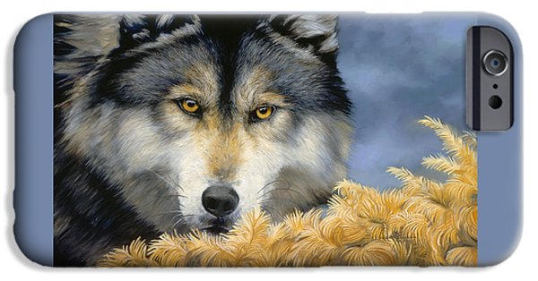 Close Paintings iPhone Cases - Golden Eyes iPhone Case by Lucie Bilodeau