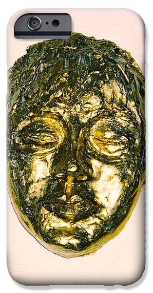 Impressionism Sculptures iPhone Cases - Golden Face iPhone Case by Joan-Violet Stretch