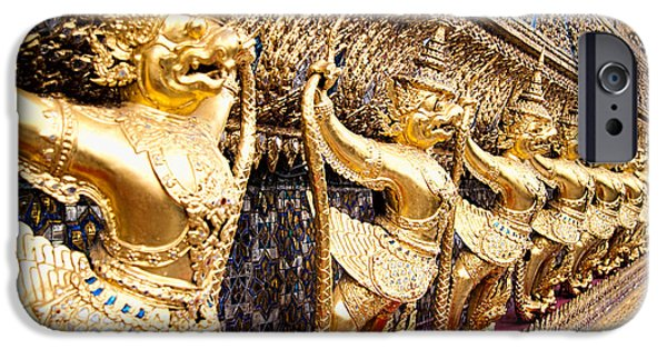 Mosaic iPhone Cases - Golden Figures in Bangkok  iPhone Case by David Smith