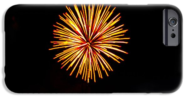 Red Fireworks iPhone Cases - Golden Fireworks Flower iPhone Case by Robert Bales
