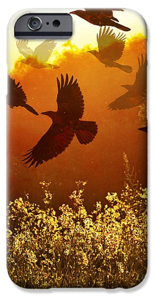 Judy Wood Digital Art iPhone Cases - Golden Flight iPhone Case by Judy Wood