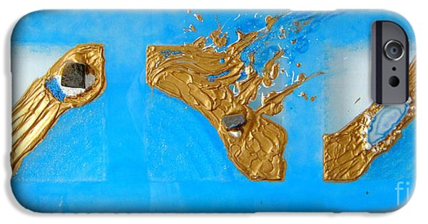 Ocean Reliefs iPhone Cases - Golden flow journey of a pearl iPhone Case by Heidi Sieber