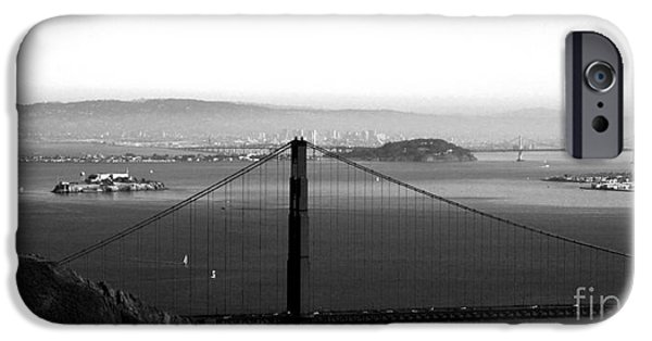 Golden Gate iPhone Cases - Golden Gate and Bay Bridges iPhone Case by Linda Woods
