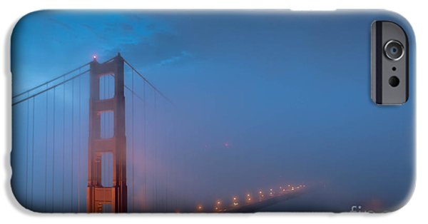 Sausalito iPhone Cases - Golden Gate at Blue Hour iPhone Case by Along The Trail