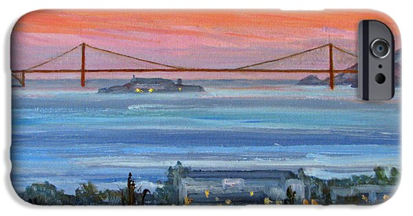 Alcatraz iPhone Cases - Golden Gate at Twilight iPhone Case by Robert Gerdes
