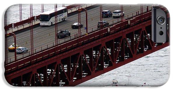 Tour Bus San Francisco iPhone Cases - Golden Gate Bridge Aerial Tour Boat iPhone Case by Jeff Lowe