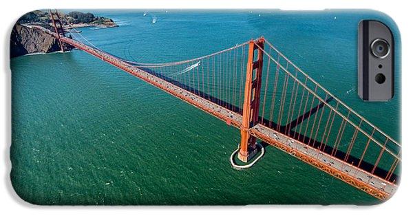 San Francisco Bay Bridge iPhone Cases - Golden Gate Bridge Aloft iPhone Case by Steve Gadomski