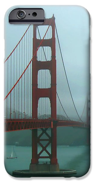 Sausalito iPhone Cases - Golden Gate Bridge and Partial Arch in Color  iPhone Case by Connie Fox