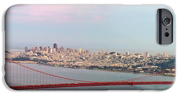 Sausalito iPhone Cases - Golden Gate Bridge and San Francisco Skyline iPhone Case by JPLDesigns