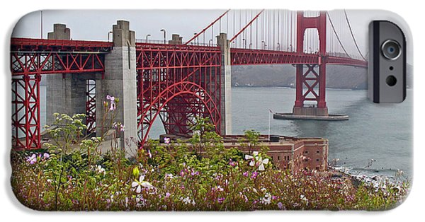 Sausalito iPhone Cases - Golden Gate Bridge and Summer Flowers iPhone Case by Connie Fox