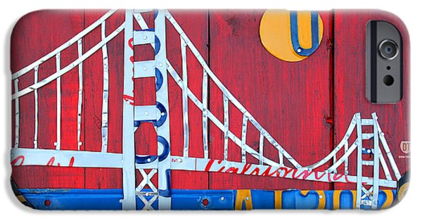 Golden Gate iPhone Cases - Golden Gate Bridge California recycled Vintage License Plate Art on Red Distressed Barn Wood iPhone Case by Design Turnpike
