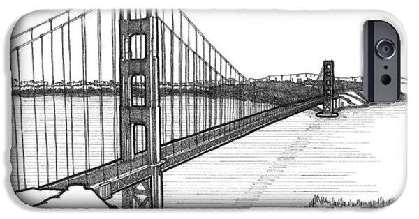Suspension Drawings iPhone Cases - Golden Gate Bridge iPhone Case by Calvin Durham