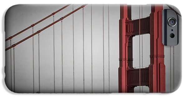 Evening Digital Art iPhone Cases - Golden Gate Bridge - Downtown View iPhone Case by Melanie Viola