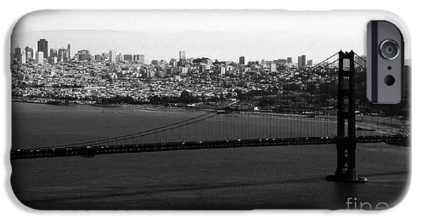 Golden Gate iPhone Cases - Golden Gate Bridge in Black and White iPhone Case by Linda Woods